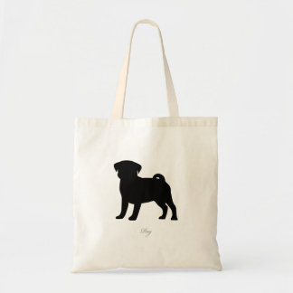 Pug Tote Bag (black version 2)