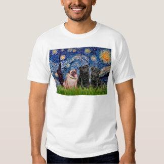 Pug Trio (1F,2B) - Starry Night Tee Shirt