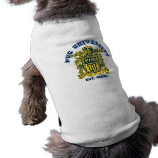 Pug University Blue and Gold Sleeveless Dog Shirt