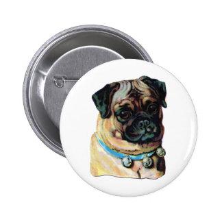 pug vintage portrait buttons