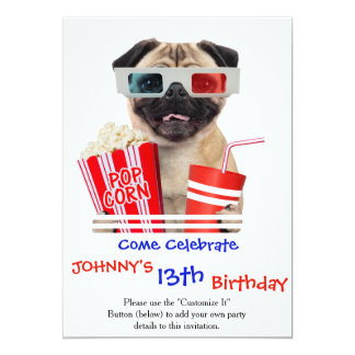 Pug watching a movie 13 cm x 18 cm invitation card