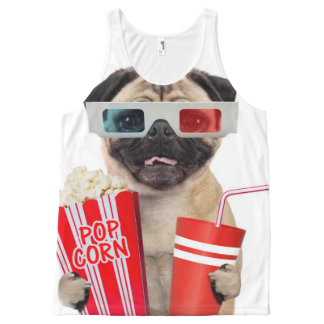 Pug watching a movie All-Over print tank top