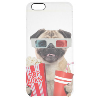 Pug watching a movie clear iPhone 6 plus case