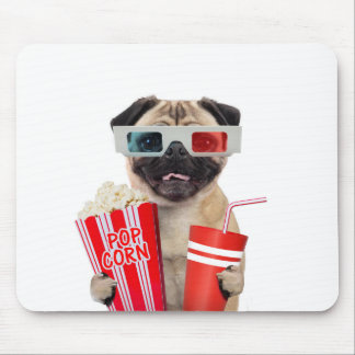 Pug watching a movie mouse pad