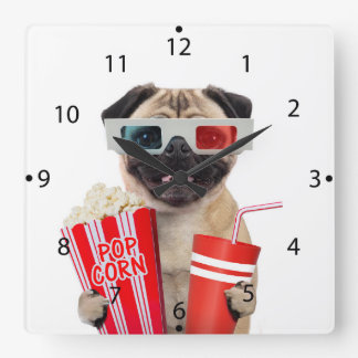 Pug watching a movie square wall clock