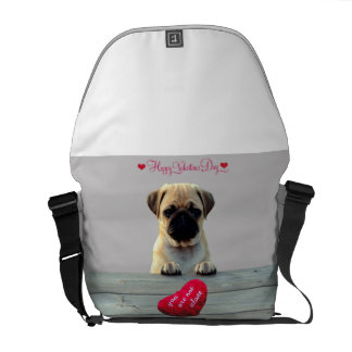 Pug Wishing Happy Valentine's day Heart Bag Messenger Bags