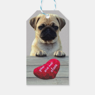 Pug Wishing Happy Valentine's day Heart gift tags
