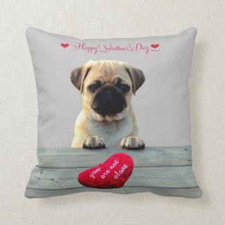 Pug Wishing Happy Valentine's day Heart pillows Throw Cushions