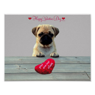 Pug Wishing Happy Valentine's day Heart poster