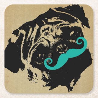 Pug With A Teal Mustache Square Paper Coaster