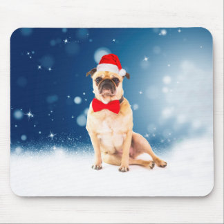 Pug with Christmas Santa Hat Mouse Pad