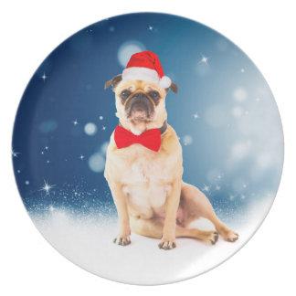 Pug with Christmas Santa Hat Plate