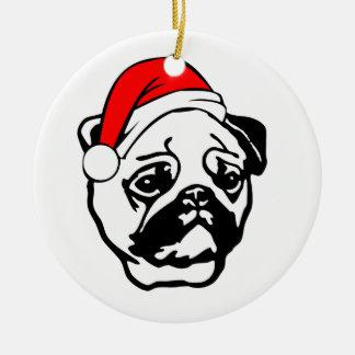 Pug with Christmas Santa Hat Round Ceramic Decoration