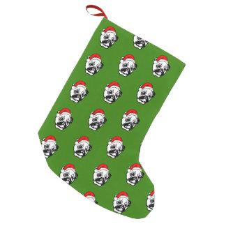 Pug with Christmas Santa Hat Small Christmas Stocking