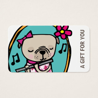 Pug with Flute Gift Card, Certificate, D10-052115 Business Card