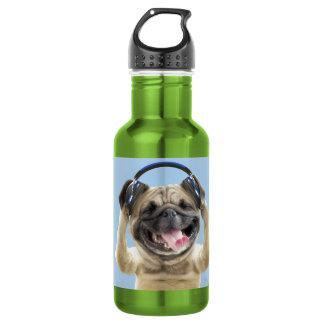 Pug with headphones,pug ,pet 532 ml water bottle