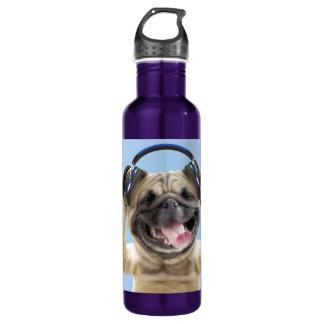 Pug with headphones,pug ,pet 710 ml water bottle