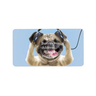 Pug with headphones,pug ,pet address label