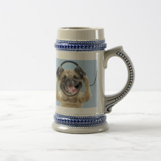 Pug with headphones,pug ,pet beer stein