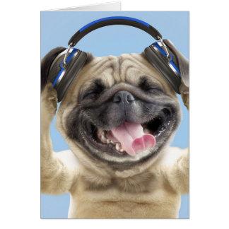 Pug with headphones,pug ,pet card