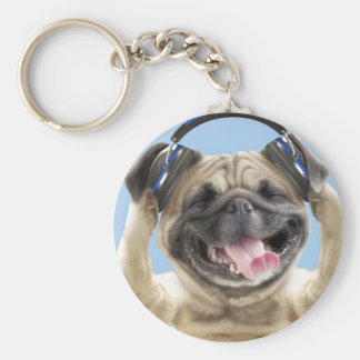 Pug with headphones,pug ,pet key ring