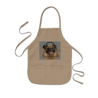 Pug with headphones,pug ,pet kids apron