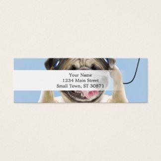 Pug with headphones,pug ,pet mini business card