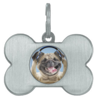 Pug with headphones,pug ,pet pet ID tag