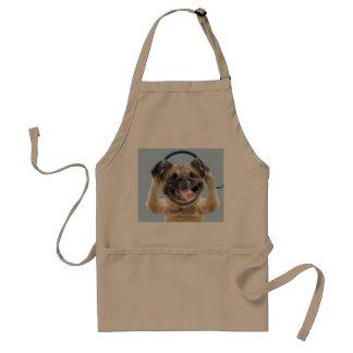 Pug with headphones,pug ,pet standard apron