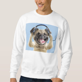 Pug with headphones,pug ,pet sweatshirt