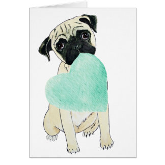 Pug with Heart All You Need is Love Card