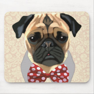 Pug with Red and White Spotty Bow Tie Mouse Pad