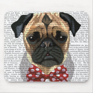 Pug with Red Spotted Bow Tie Mouse Pad