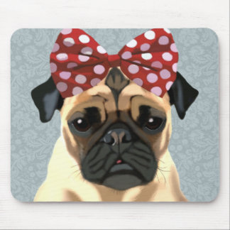 Pug with Red Spotty Bow On Head 2 Mouse Pad