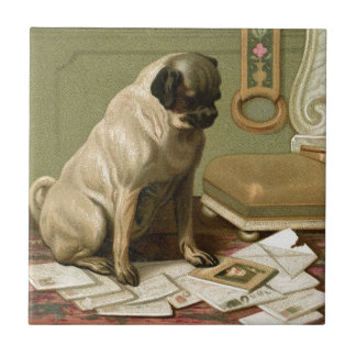 Pug with the Post Ceramic Tile