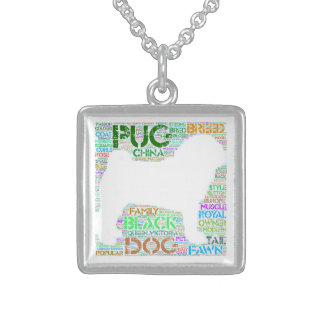 """Pug """"Word Cloud"""" Sterling Silver Square Necklace"""