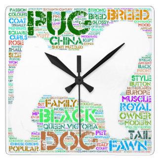 """Pug """"Word Cloud"""" Wall Clock"""
