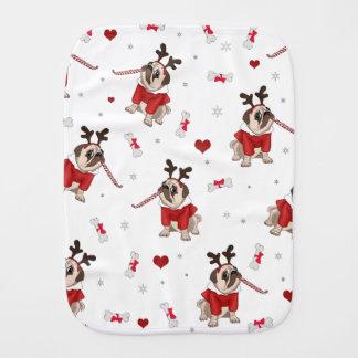 Pug Xmas Pattern Burp Cloth