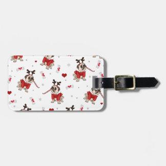 Pug Xmas Pattern Luggage Tag