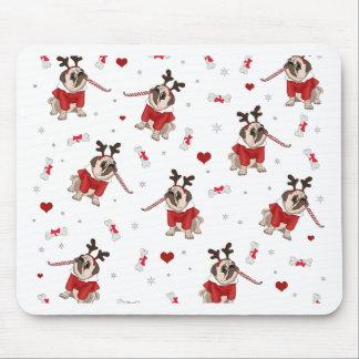 Pug Xmas Pattern Mouse Pad
