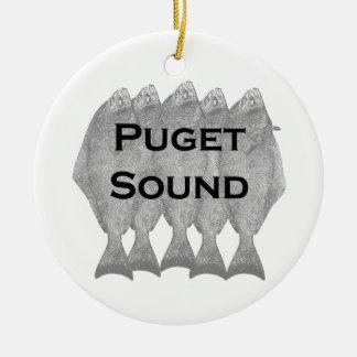 Puget Sound Pacific Halibut Ceramic Ornament