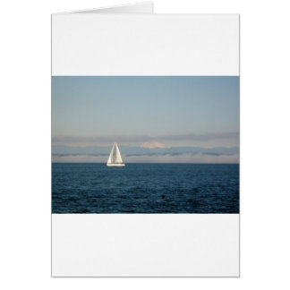 Puget Sound Sailboat and Mountain Range Card