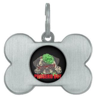 Puggerd out pug pup pet ID tag
