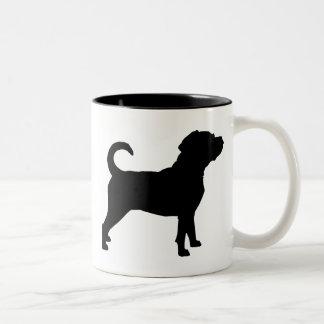 Puggle Dog Silhouette Two-Tone Coffee Mug