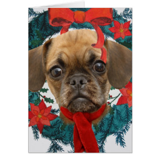 Puggle in Christmas Wreath Card
