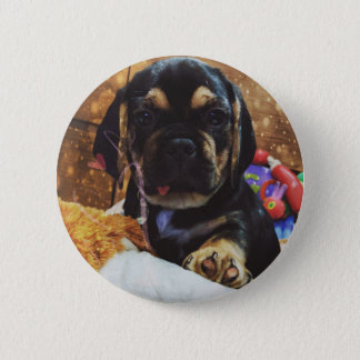 Puggle love 6 cm round badge