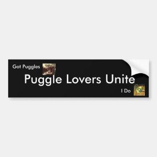 Puggle Lovers Unite, Bumper Sticker