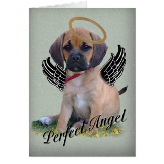 Puggle perfect angel card on green