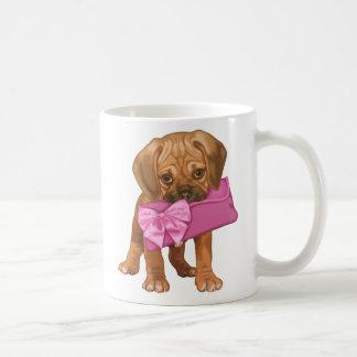 Puggle puppy and bow clutch coffee mug