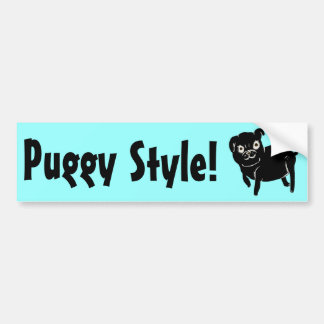 Puggy Doodle Car Bumper Sticker